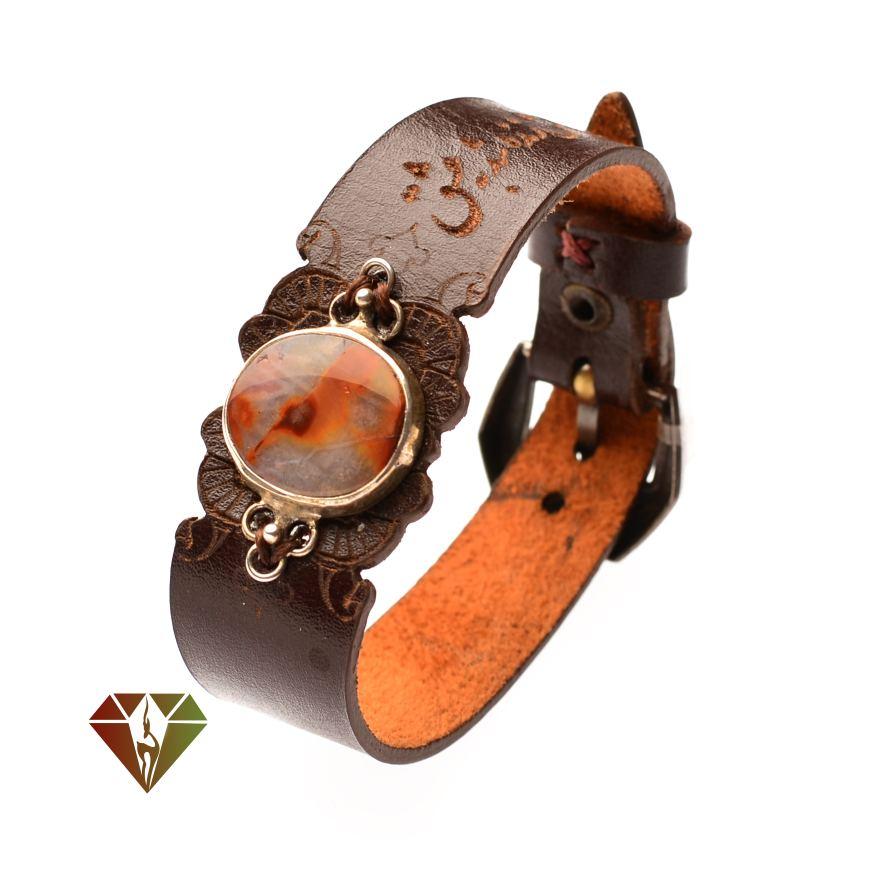 دستبند چرمینه گوهر عقیق