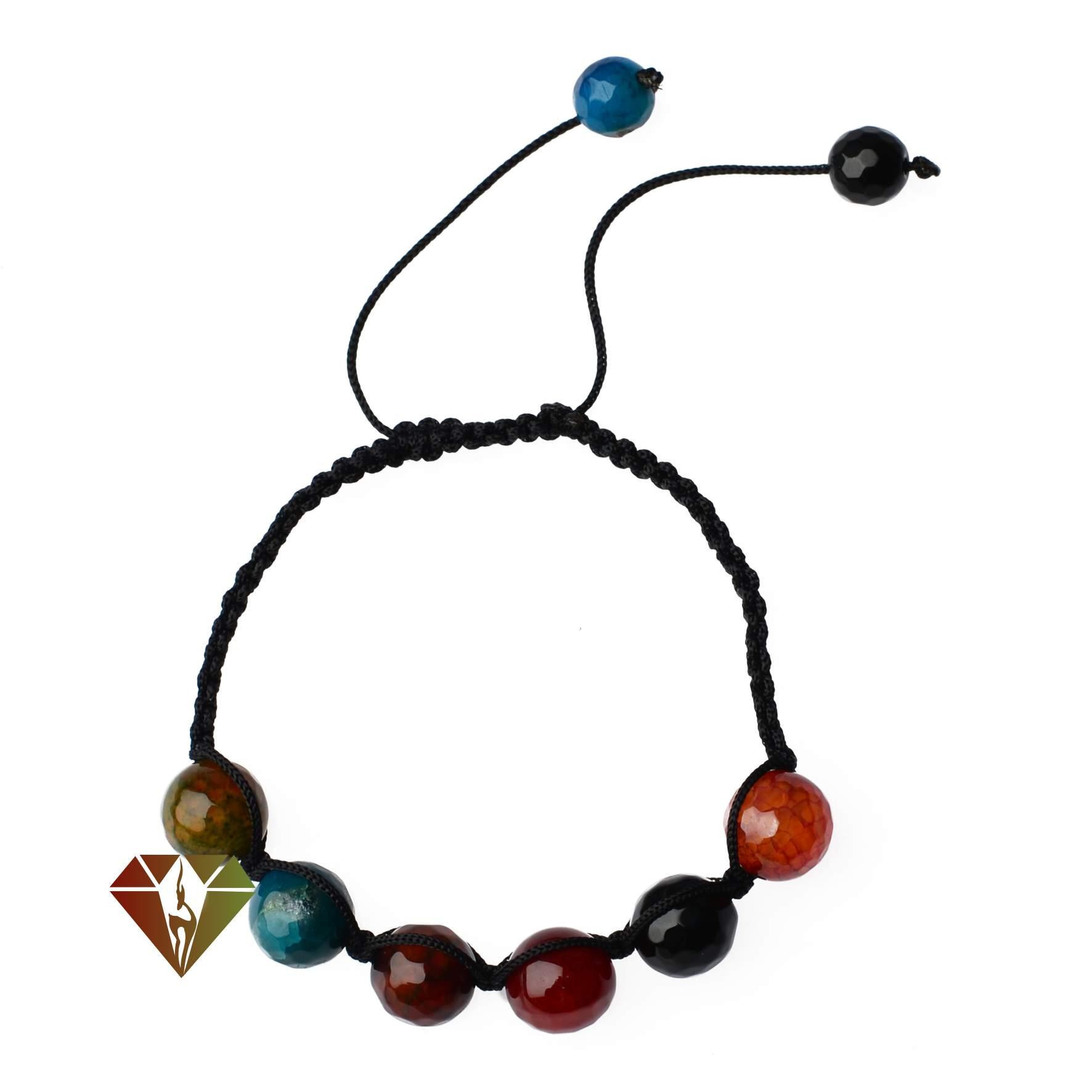 دستبند عقیق طرح آیدا با مهره های رنگی