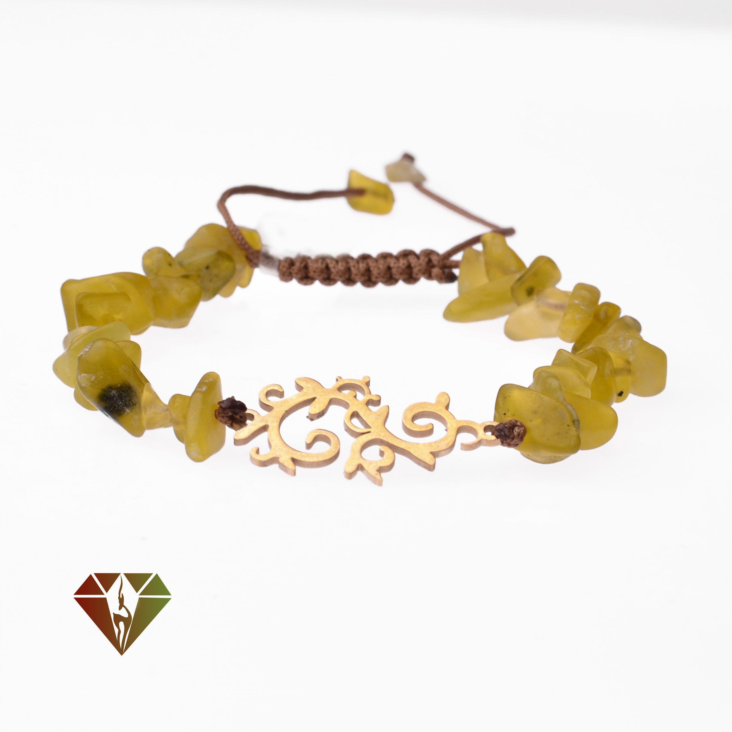 دستبند زبرجد با پلاک استیل
