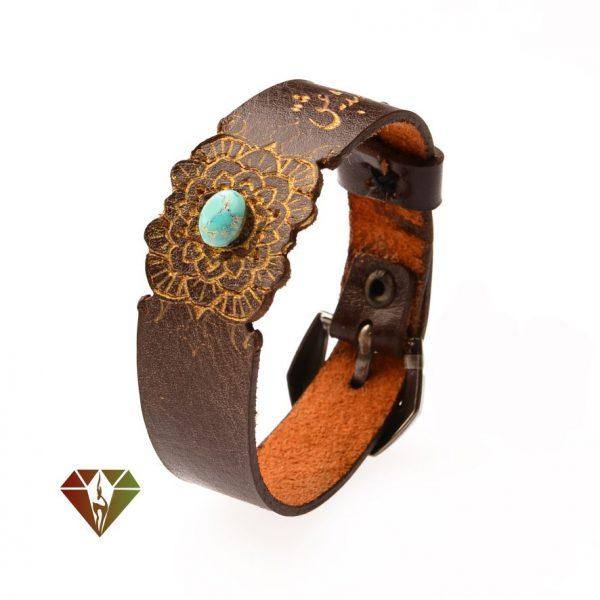 دستبند چرمینه فیروزه