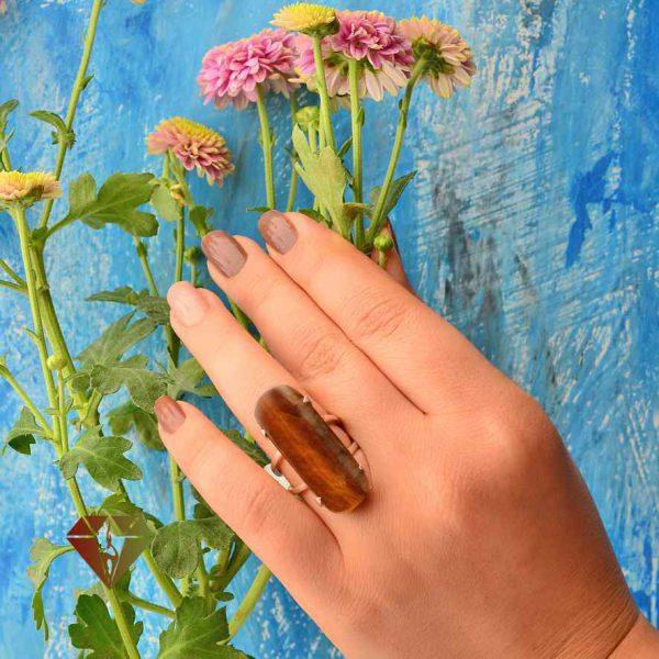 انگشتر زنانه چشم ببر طرح سحاب