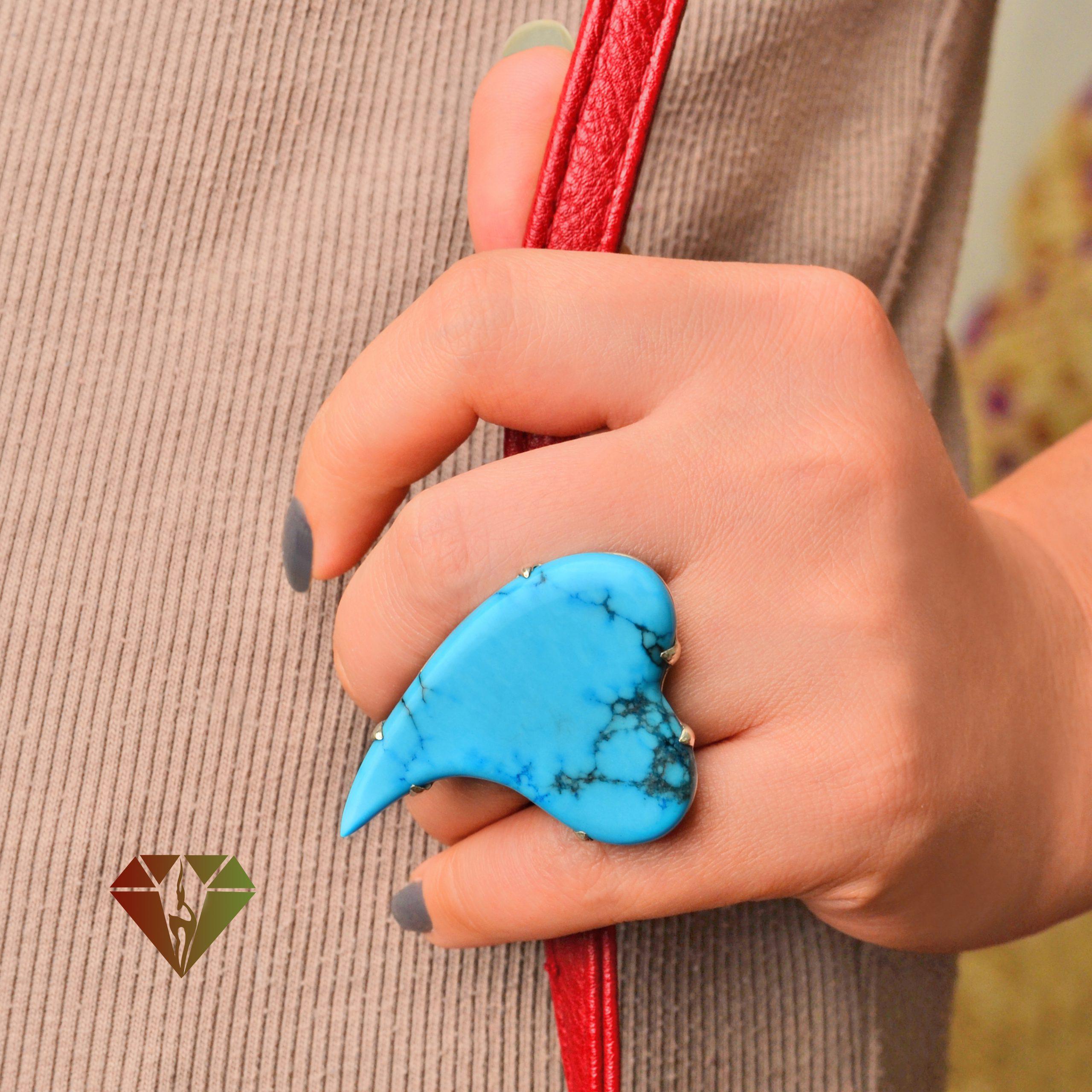 انگشتر فیروزه تبتی زنانه طرح کاردان