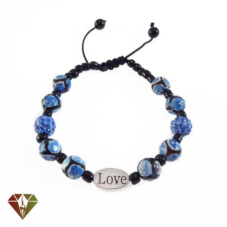 دستبند عقیق لیزری آبی
