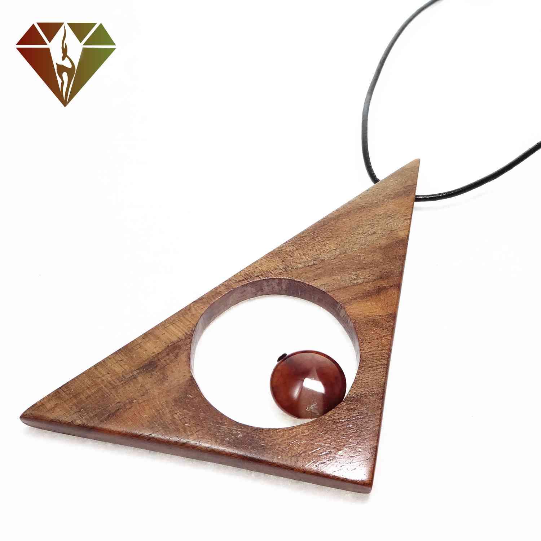 رومانتویی چوبینه مثلثی عقیق قهوهای