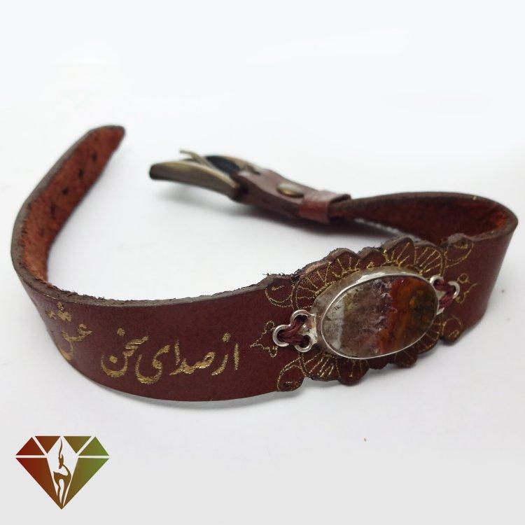 دستبند عقیق چرمینه با کریستال طبیعی