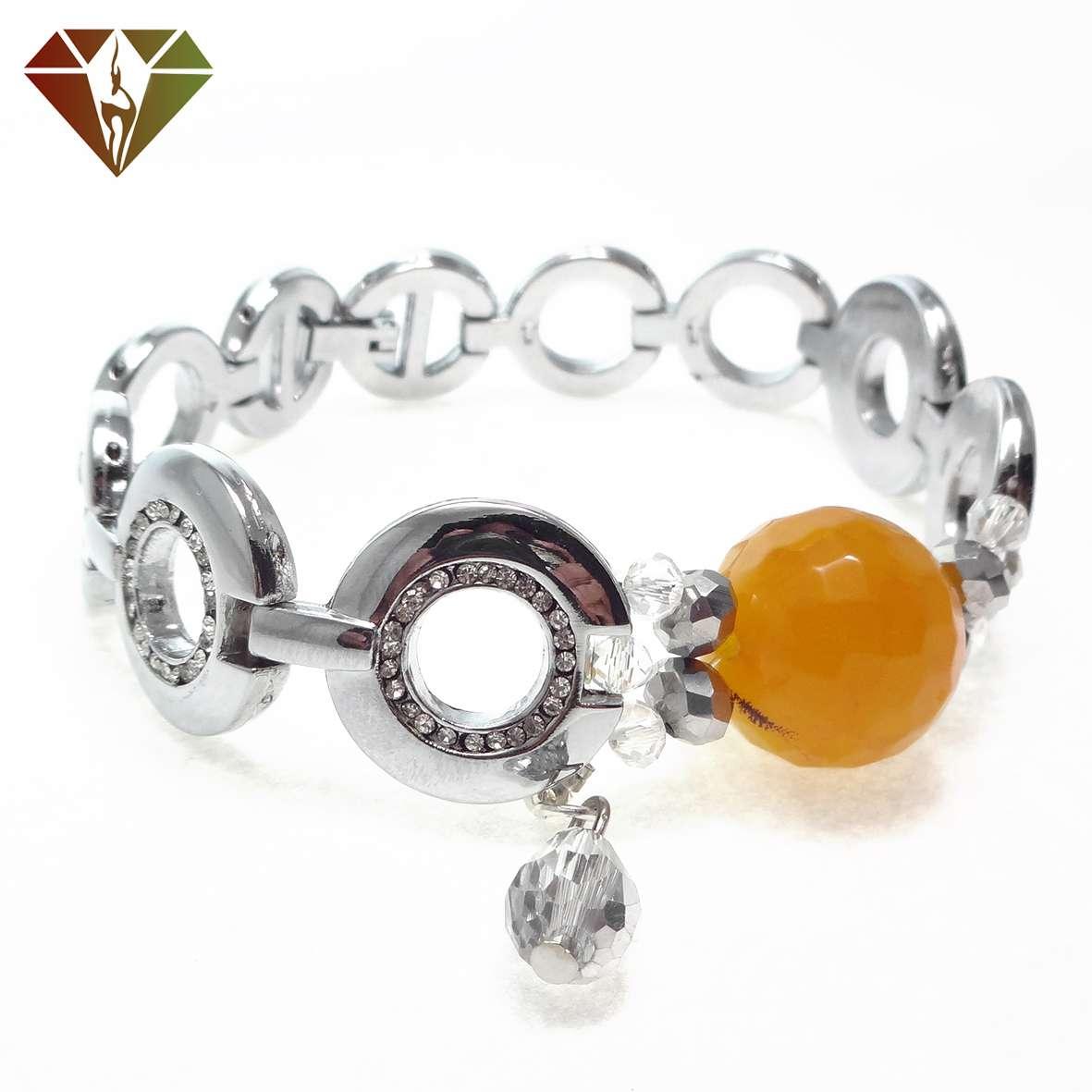 دستبند عقیق پرتقالی با آویز کریستال