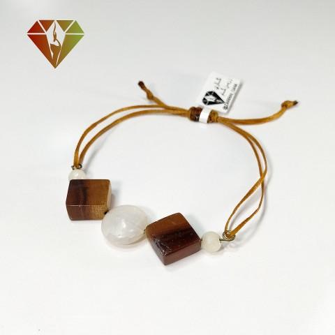 دستبند عقیق سفید چوبینه گره کشویی