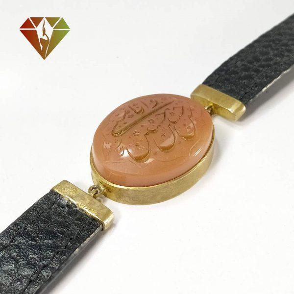 دستبند چرمی عقیق دورگیری نقره