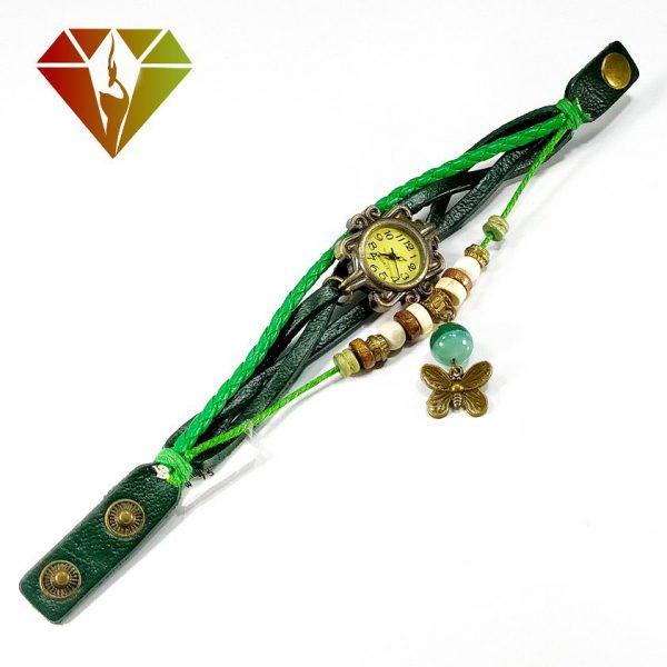 ساعت عقیق سبز با بند چرمی