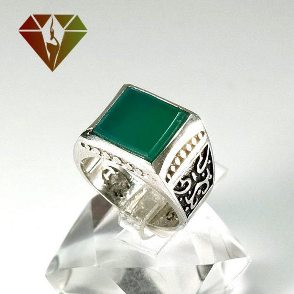 انگشتر عقیق سبز نقره مردانه