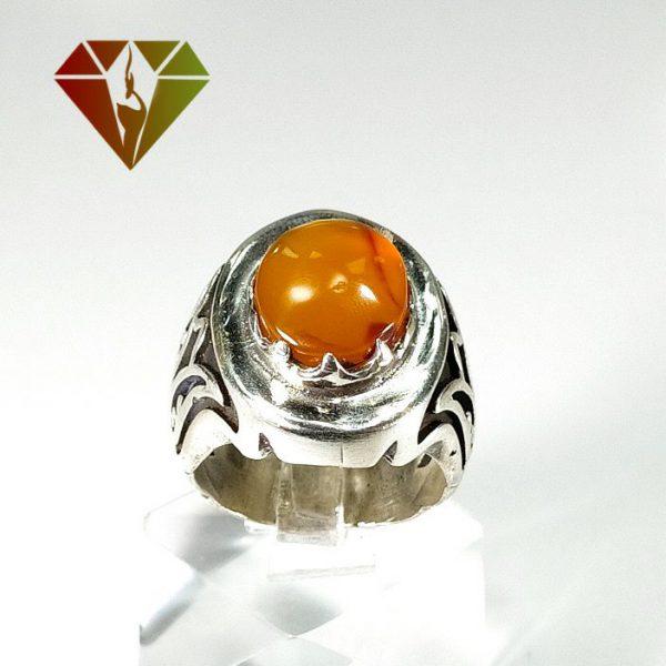 انگشتر مردانه عقیق نارنجی نقره