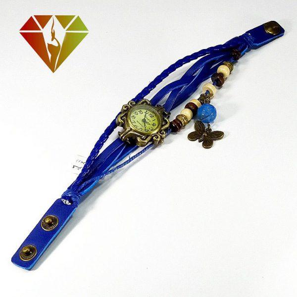 ساعت عقیق با بند چرمی آبی رنگ و آویز پروانه