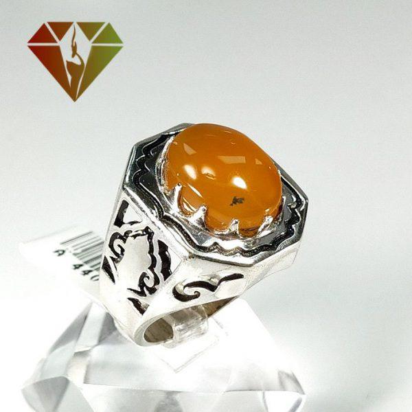 انگشتر عقیق نارنجی نقره مردانه