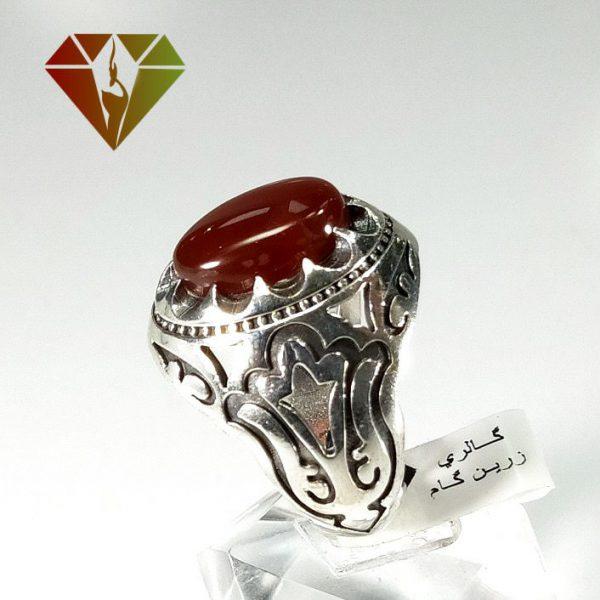 انگشتر عقیق سرخ نقره مردانه
