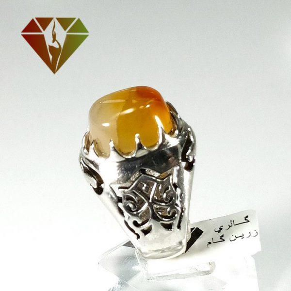 انگشتر مردانه عقیق پرتقالی نقره