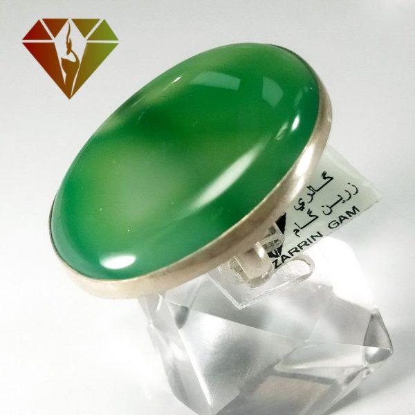 انگشتر عقیق سبز نقره زنانه طرح سلنا